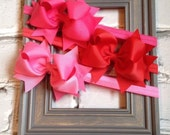 Boutique Baby Girls Set of 3 Pink Red Hot Pink Large Hair Bow on Elastic Headband..Perfect for Photo Props Valentines Day