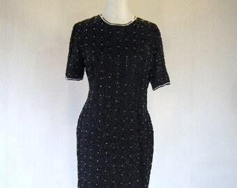 Elegant Black Pearly Zig Zag Beaded Glam Dress