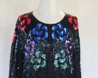 Royal Feelings Floral Sequin Slouchy Shirt Top
