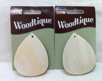 Wooden Teardrop Pendants - 2