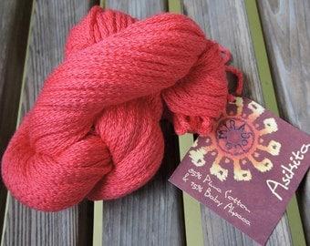 ARAN or WORSTED Weight Yarn - Pima Cotton and Baby Alpaca - Mirasol Asikita - Coral (#2112) - 50g / 71 yards