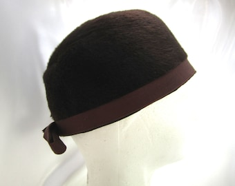 Vintage Fur Hat Millinery Womens Black Hat Accessory Costume Madmen Steampunk Theatre