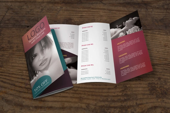 TriFold Brochure Template W Price List - Price list brochure template