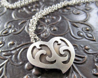 Silver Heart Necklace, Heart Pendant, Oxidized Jewelry, Valentine's Day, Metalwork Jewelry