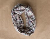 Cotton Infinity Scarf - Beige Navy Red White Stripe Plaid - Brushed woven cotton flannel - ready to ship