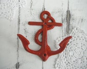 red anchor hook beach wall hook shabby chic French country nautical hook distressed hook cottage chic wall hook double hook cottage decor