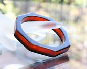 Lucite Bangle - Octagon - Cider and Black Striped - Stylish!