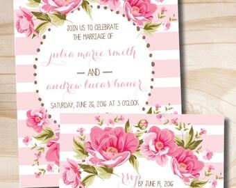 Floral Wedding Invitation and Response Card - Printable Invitation