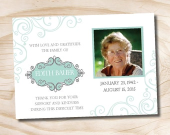 Swirl Sympathy, Memorial, Funeral Thank You Notecards - Printable digital file or printed invitations