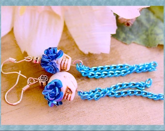Day of the Dead Turquoise n Ivory Skull n Roses Dangle Earrings , Sterling Sliver Hooks By: Tranquilityy