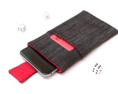 iPhone 7 Plus iPhone 7 sleeve case pouch cover handmade iPhone 7 Plus sleeve iPhone 7 case magnetic closure dark jeans and red with a pocket