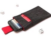 Motorola Moto G4, G4 Plus, G4 Play, Moto X, G, E sleeve case pouch handmade with magnetic closure dark jeans and red with pocket