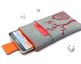 Galaxy Note 5, 4, Edge, 3 sleeve case cover pouch with magnetic closure light jeans and orange with pocket and red Owl