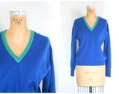 vintage 50s cashmere tennis sweater - v neck / Royal Blue - 60s prep / Braemar - Scotland