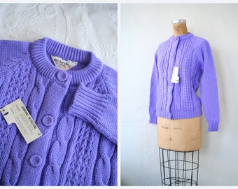60s deadstock ladies cardigan sweater - purple cable knit / Violet - vintage 1960s / Sweet Kawaii - granny chic