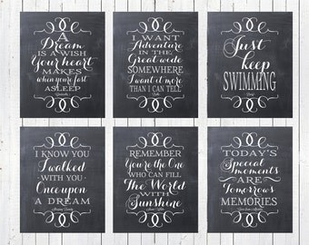 "Disney Princess Quotes - Set of Six  8x10"" Printables - Instant Download"