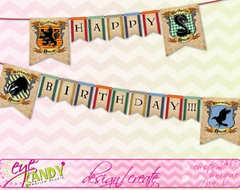 Harry Potter Inspired - Hogwarts PRINTABLE Party Banner - birthday Banner - house banner