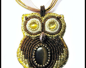 Brown and Gold Beaded Owl Embroidered Necklace