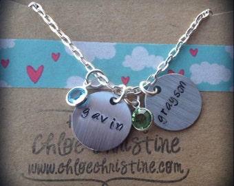 Back for a limited time - Customer Favorite - Mother's Charm Necklace-Multiple Handstamped Charms-Customized Jewelry for Mom-Personalized Je