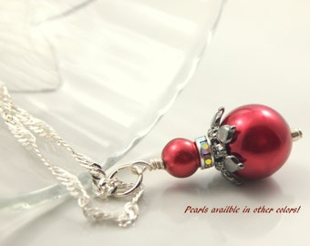 Red Bridesmaid Jewelry Bridesmaid Necklace Red Jewelry Wedding Party Jewelry Red Pearl Necklace Red Pearl Earrings Red Wedding Jewelry