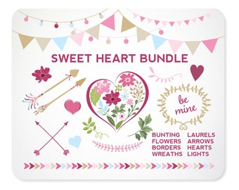 Valentine's Day Flower Clipart | Valentine Arrow Clip Art | Heart Clipart | Laurel Clip Art | Vector ClipArt | Valentine Wreath | Laurel
