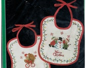 Bucilla Christmas Heirloom Baby Bears embroidery baby bibs