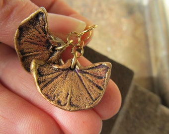 Earrings Ginkgo Leaf Impression in Clay in Gold color on gold plated stainless steel