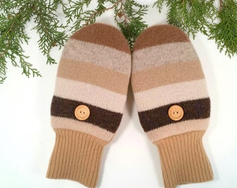 Warm Wool Mittens for Adults. Size Large. Neutral colors: beige, carmel, chocolate, grey stripes.