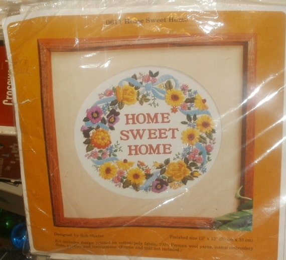 Vintage Needlepoint Embroidery Kit Home Sweet by ...