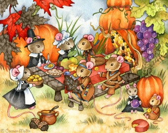A Thankful Feast - Mouse Art 8.5x11 Print