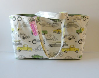 MADE TO ORDER Retro Rides Diaper Bag, with Waterproof lining, available in two colors