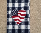 4th of July Embroidered Towel - Flag Heart