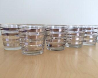 set of 8 mid century cocktail glasses
