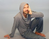 Eco Friendly Hoodie in Heathered Gray - Hemp - Organic Cotton - Organic Clothing - Raglan Sleeve -