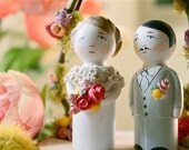 Custom Wedding Cake Toppers, Bride and Groom, Peg Dolls, Paper Clay