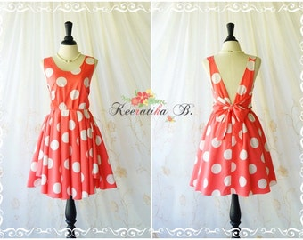 A Party V Charming Dress Prom Party Dresses Coral/White Polka Dot Dress Prom Party Dress Coral Wedding Bridesmaid Dresses Coral Dress XS-XL