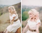 Vintage wedding dress S size 2 off shoulder BOHO Hippie