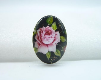 4pcs 18x25mm Handmade Photo Glass Cabochons (rose flower) GA1-66