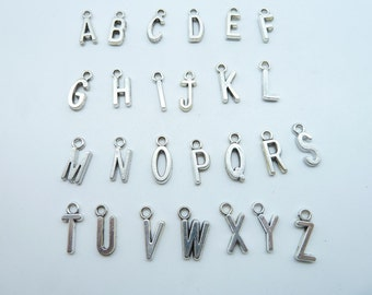 "2 sets 6x16mm Antique Silver Letter 26 Alphabet  letters ""A-Z "" Charms Pendant"