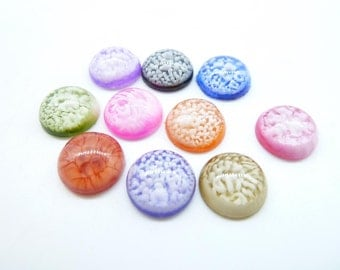 20pcs 12mm  Mixed  colors  Resin Oblate Cabochon Cameo  c4530