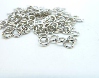 About 450pcs 5mm White K Silver Tone Jump Ring ---30g