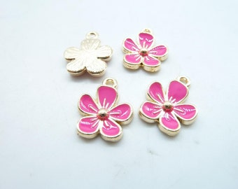 15pcs13x16mm KC  Gold Enamel Rose Red Plum Flower Charm Pendant c7858