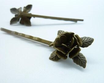 10pcs 17x60mm Antique Bronze Wavy Bobby Pin Hair Sticks Hair Clip Flower Edge Hair Pin c7764