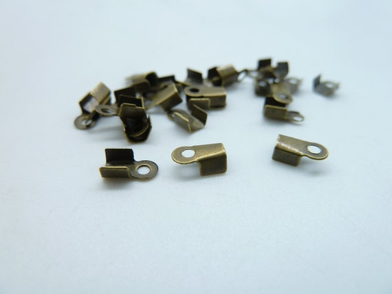 About 300pcs(10g) 6x4x3mm Antique Bronze Ribbon Crimp End Caps Fastener Clasps C1578