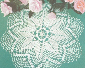 Pattern of Valentina 152-7 round star lace filet crochet cotton white table cloth runner vintage retro