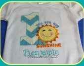 Girls You Are My Sunshine AQUA CHEVRON Birthday Shirt  TurquioseApplique Personalized 1st 2nd 3rd 4th Tshirt Toddler Children