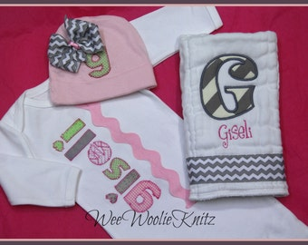 Personalized- Newborn Girls- Infant Gown Burp Cloth and Beanie Hat- 3 PIECE Set-Coming Home Outfit Baby Shower Gift-Pink Grey Chevron
