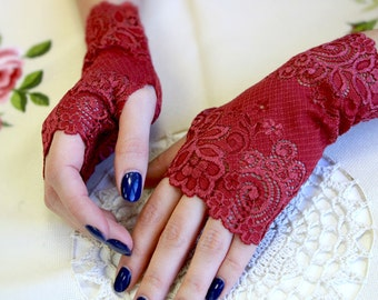 Burgundy Lace Gloves. Dark Red Stretch lace. Size S,M, L ready to ship