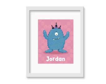 Personalized Monster Art - Personalized Fluffy Cute Monsters Children's Nursery Room Decor 8 x 10 print - Nursery Art Print
