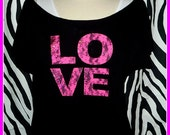 Valentines Day shirt 80s Shirt Love Pink tshirt Love lace 80s party t shirt Love off shoulder  cut off t 80s style off shoulder neon pink